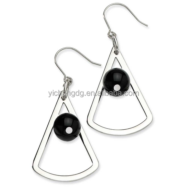 Stainless Steel Triangle & Onyx Gemstone Dangle Earrings