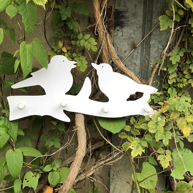 Atacado branco bonito do pássaro decoração parafuso parede gancho para casaco pendurado