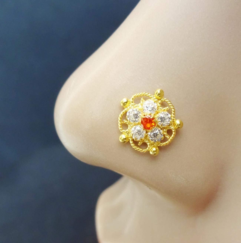 Buy Crystal Gold Nose Ring Gold Nose Cuff L Shape Nose Stud Black