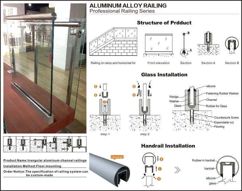 Aluminum U Channel Base Frameless Glass Railings For Indoor