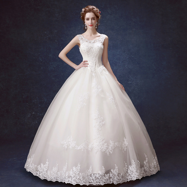 ZH0949G Hot Sale Lace Appliques Princess Ball Gown Wedding Dresses Bow Bunga Lantai Panjang Bridal Gown