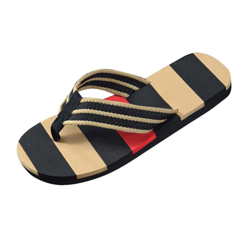 Marvin Cook Men Fashion Flip Flops Stripe Shoes Indoor Outdoor Slipper Soft Eva Beach Flip Flops