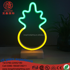 plastic Pink flamingo/Pineapple LED neon light for desk