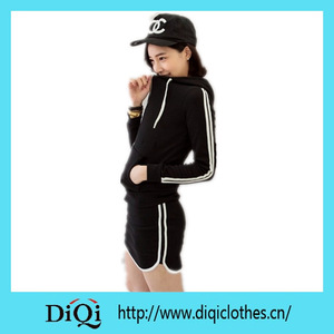 Women Hoodies-Short Pants Outfit Two White Stripe on Sleeves and Short Skirt Zip Up Korea Style Hoodie Sport Wear