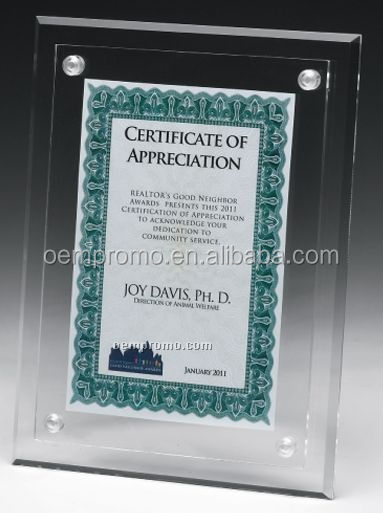 Customized Clear On Clear Blank Wall mount Acrylic Certificate Holder