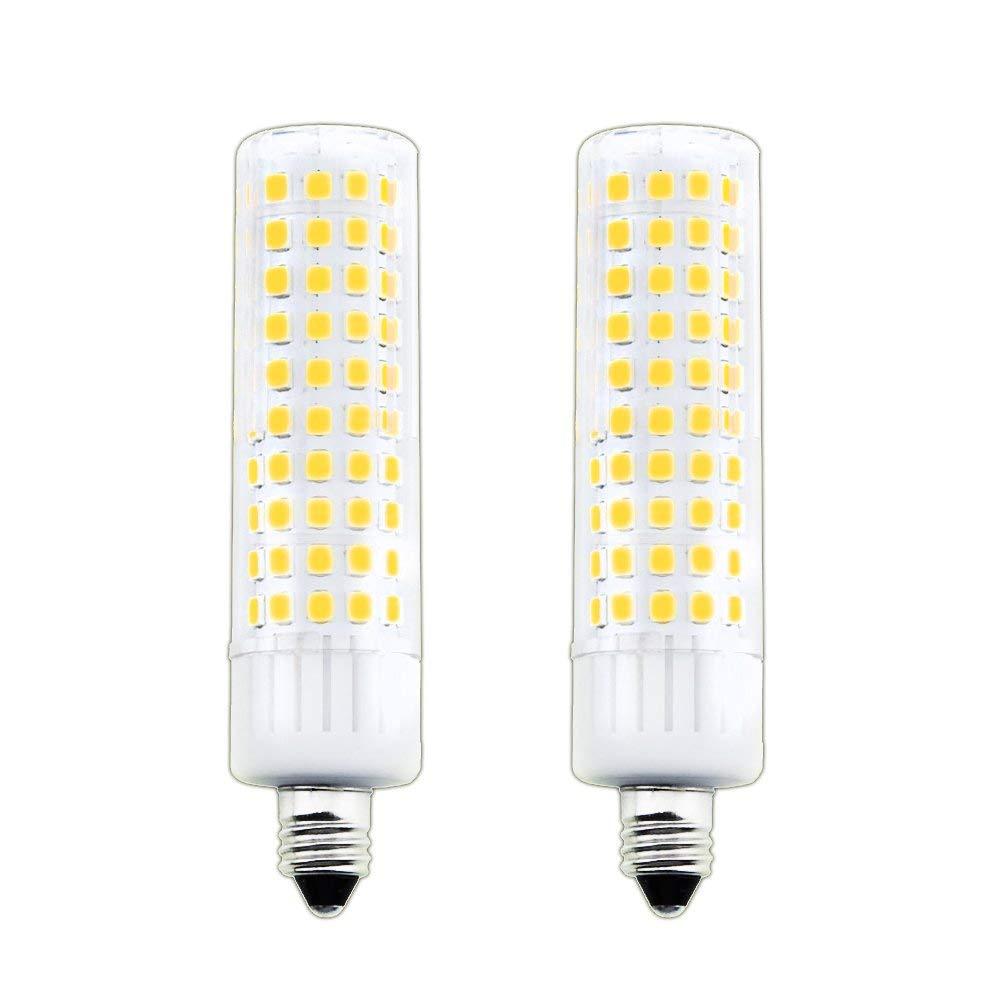 Aluxcia E11 LED Bulb, 8.5W T4 Mini Candelabra E11 JD LED Ceiling Light 100W Halogen Replacement Candel Bulb for Ceiling Fan, Chandelier Lighting, Decorative Lighting, Warm White 3000K, 2-Pack