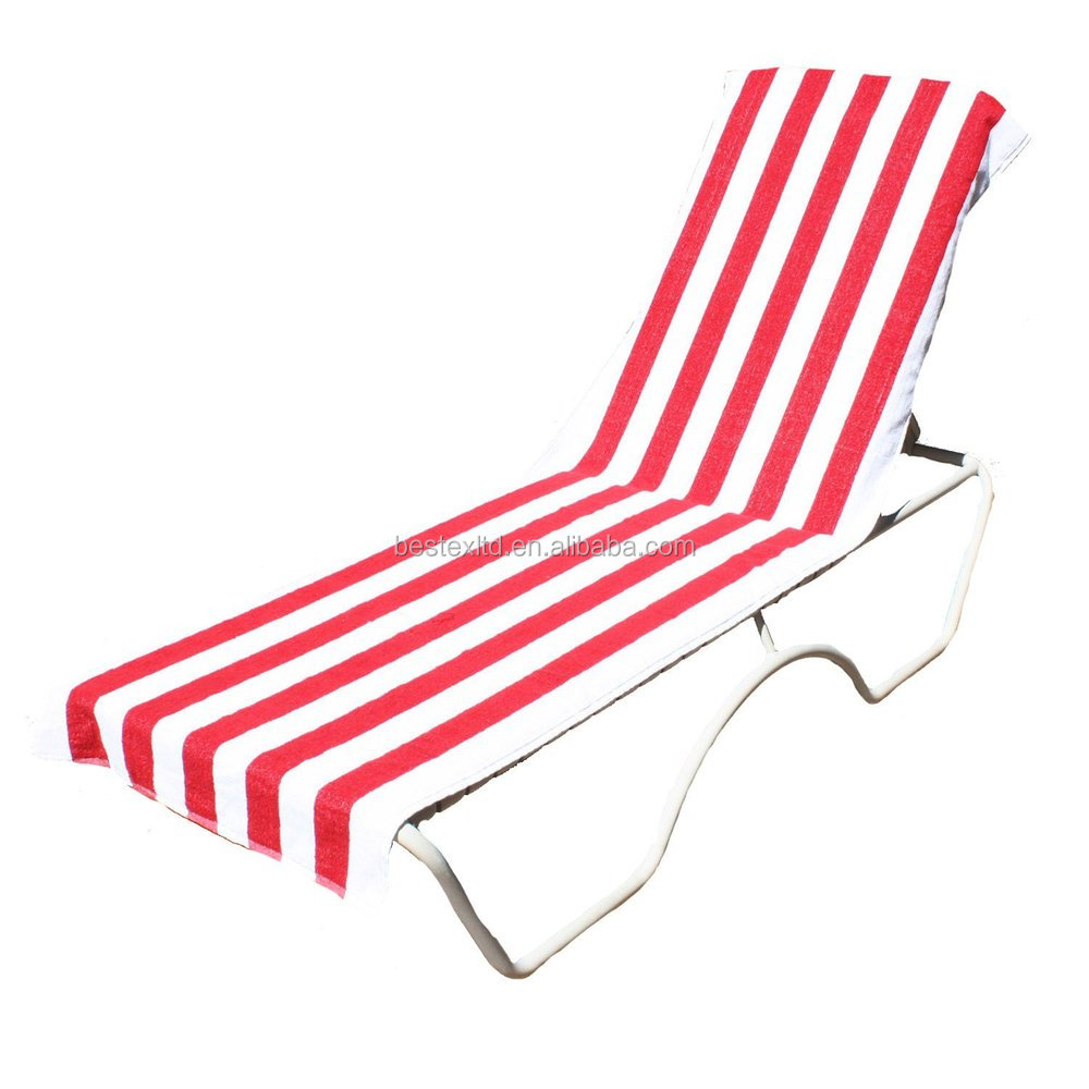 Bright Colored Terry Stripe Cotton Beach Lounge Chair Cover