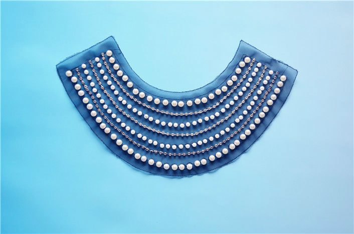 latest hot sale pearl beaded lace trim collars for lady dress