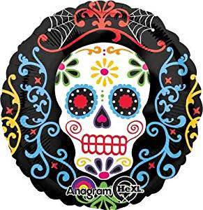 "Single Source Party Supply - 17"" Day of the Dead Pattern Halloween Foil Balloon"