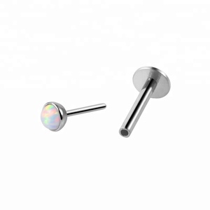 Factory direct custom opal color surgical steel 18g threadless push in labret piercing jewelry wholesale