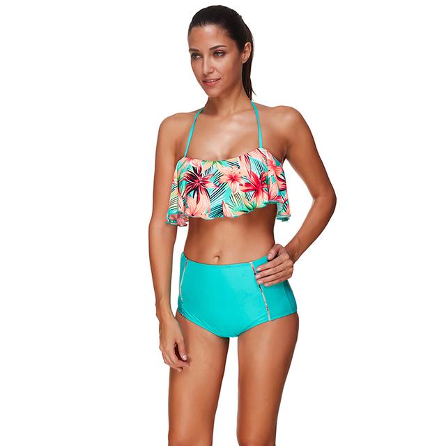6e2de7bd18 High Waist Bikini Swimsuit Printed Beach Wear Ladies Beachwear Sexy