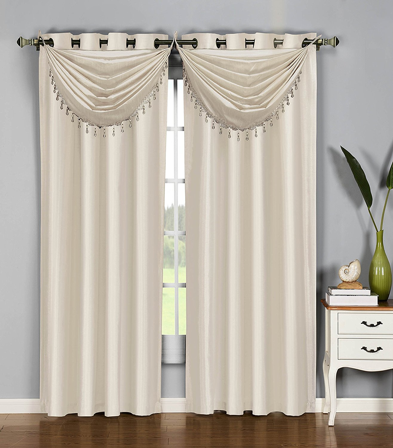 x v p toga treatment valance window beige swag golden grandeur