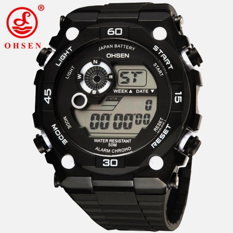 OHSEN 2810 nueva marca para hombre deportes relojes de alarma ... d6c322bb90df