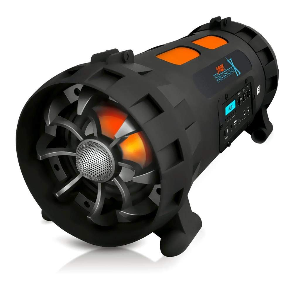 Street Blaster X Boombox Speaker - 1000W NFC/Wireless Bluetooth Compatible Portable Outdoor Stereo w/Rechargeable Battery, AUX USB FM Radio MP3 System, Microphone in, LED Lights - Pyle PBMSPG200V2