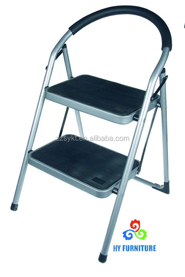 Folding 2 step steel frame ladders stools with hand grip and plastic steps