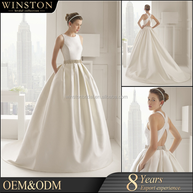 Hot Factory Custom Plain Ivory Satin Wedding Dress
