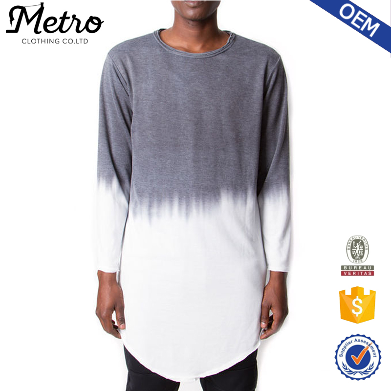 2016 OEM Custom Mens Deep Dyed Extreme Long T Shirts