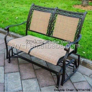 Outdoor Garden Pation Loveseat Glider In Cast Aluminum Mental Material With  Sling Fabric Double Chair