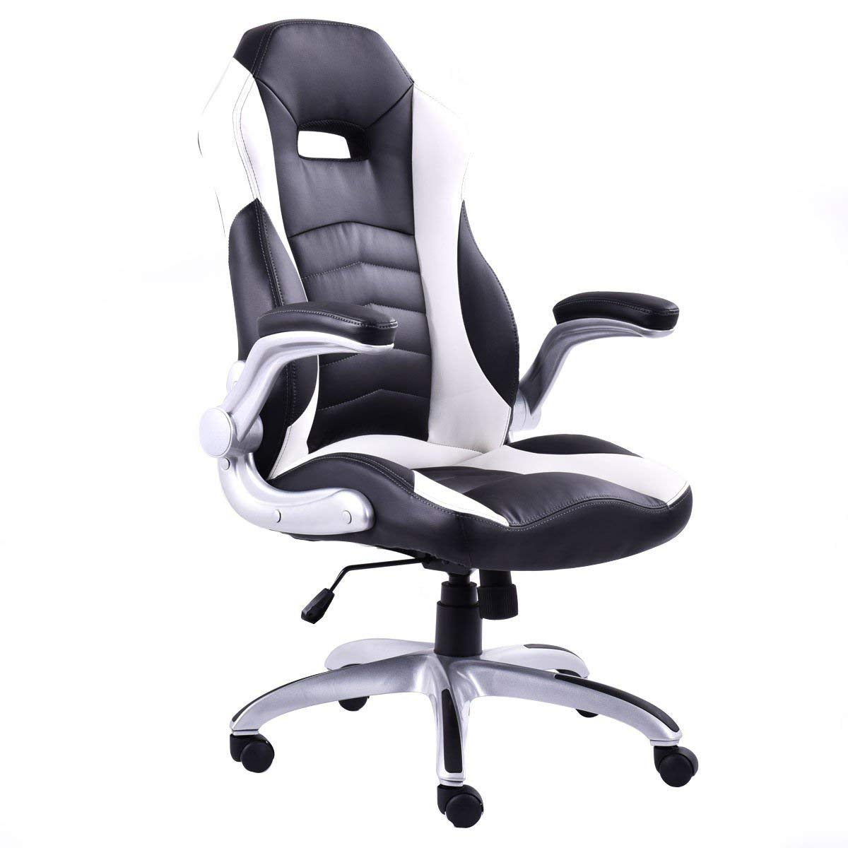 Svitlife White Executive Racing Style Bucket Seat Gaming Chair Office Leather Race New White Home Work