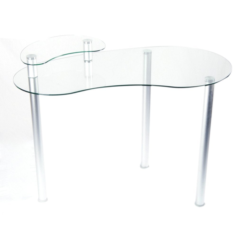Tier One Designs Clear Glass Corner Computer Desk with Monitor Stand