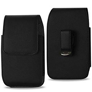 Vertical Leather Pouch Case with Swivel Belt Clip and Magnetic Closure for GreatCall Splash medical alert device