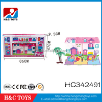 Promotional christmas gift set plastic toy doll house for kids HC342491