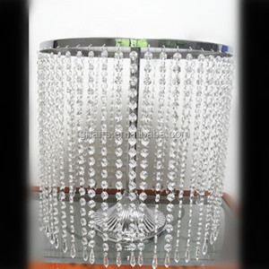 transparent crystal cake and fruit stand with hanging crystal beads for wedding and party use