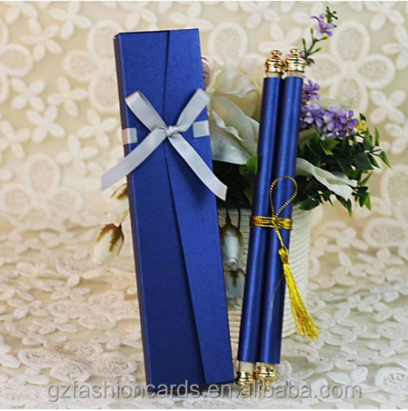 Royal Blue Scroll Wedding Invitations Sc001 Personlized Cards Embossed