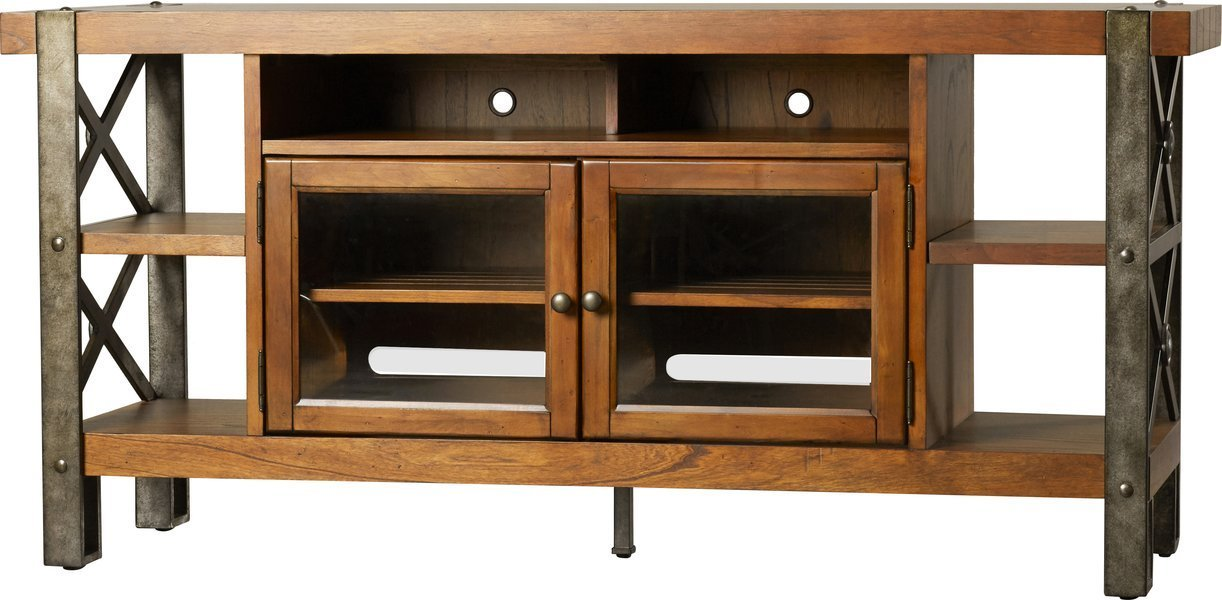 """68"""" TV Stand Rustic & Cabin Style Four Fixed Shelves on Each End Top Fixed Center Shelf Two Framed Glass Doors Each Enclose an Adjustable Shelf"""