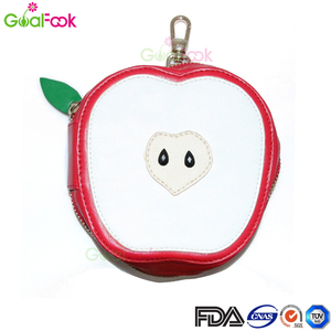 goalfook brand High quality oem Logo PU apple shape fruit keychain