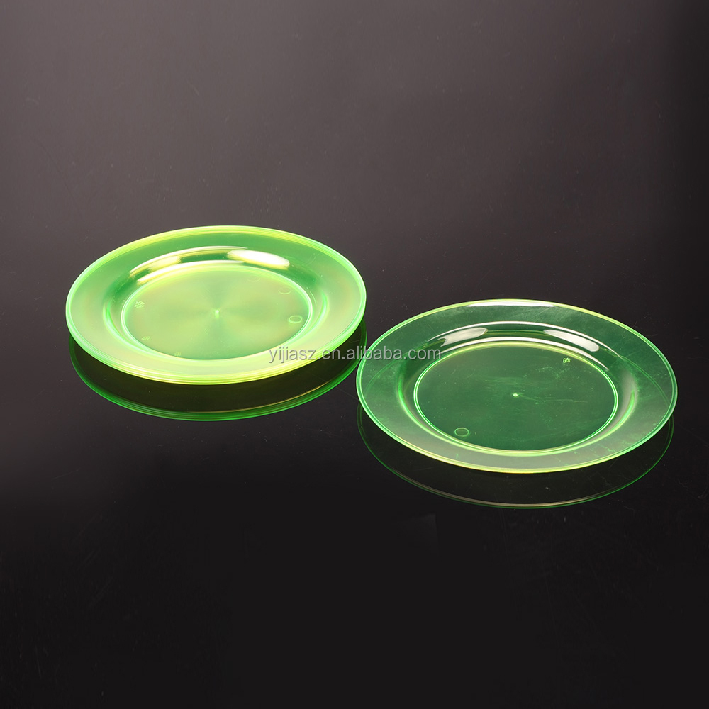 christmasps clear disposable plastic round dish plates for lunch and party