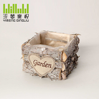 YM-8774901 handmade square shape wooden pots with plastic liner