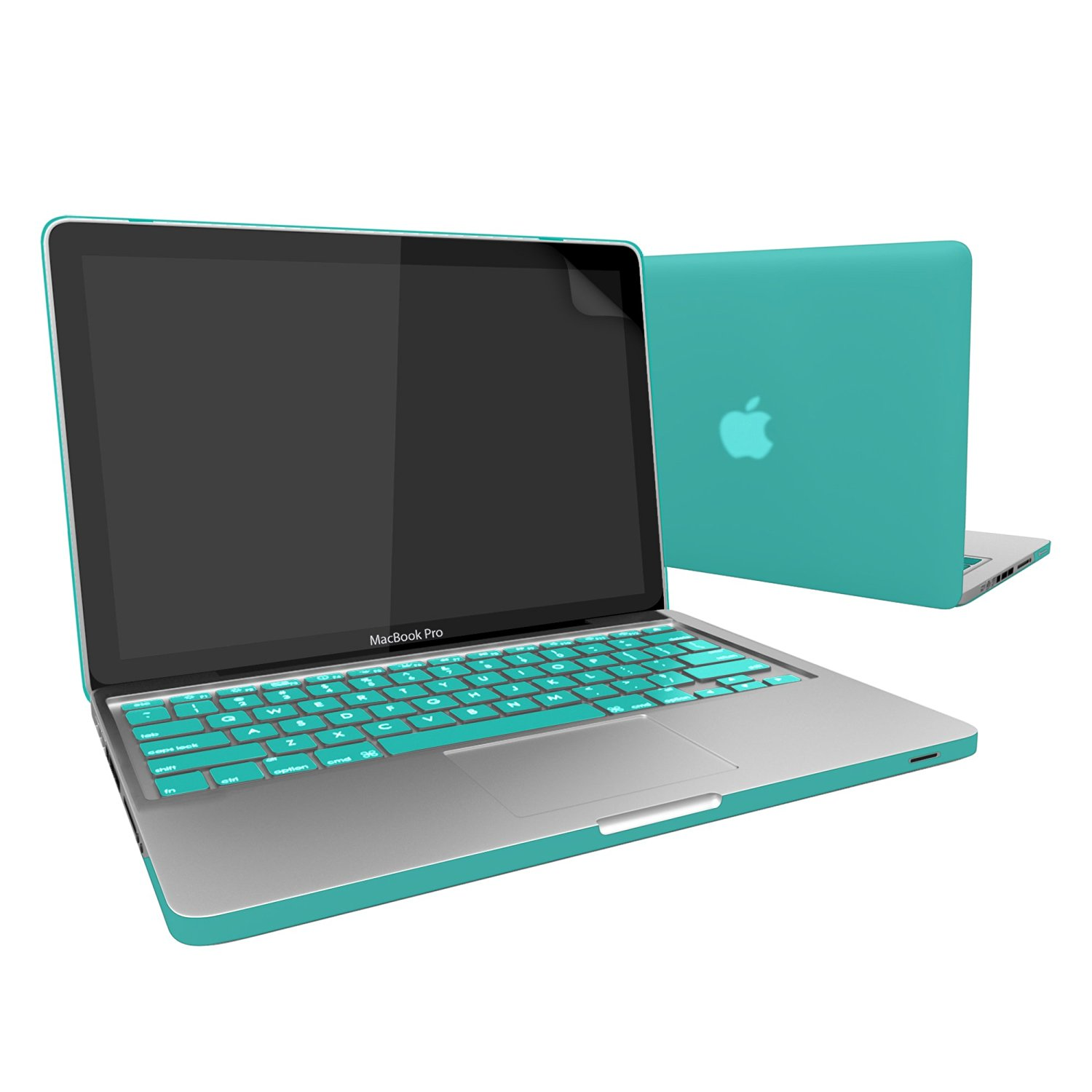 """MacBook-Pro-13, RiverPanda Matte Rubberized Hard Snap-On Case Cover for Apple MacBook Pro 13"""" with Keyboard Skin & Screen Protector Fits Model A1278 - Turquoise Blue"""