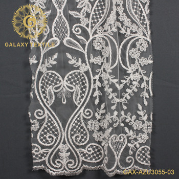 wholesale Gorgeous High Quality machine beaded Lace fabric for wedding dress