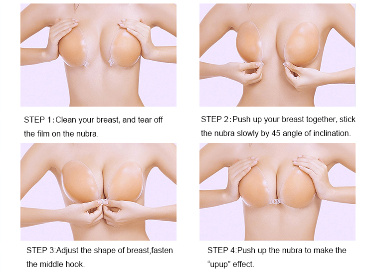 Popular female push up silicone free bra ABCD cups Invisible silicone bra