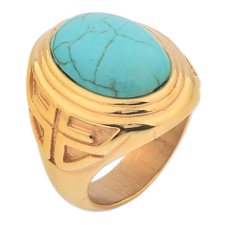 New Model Single Turquoise Stone Ring Designs For Men