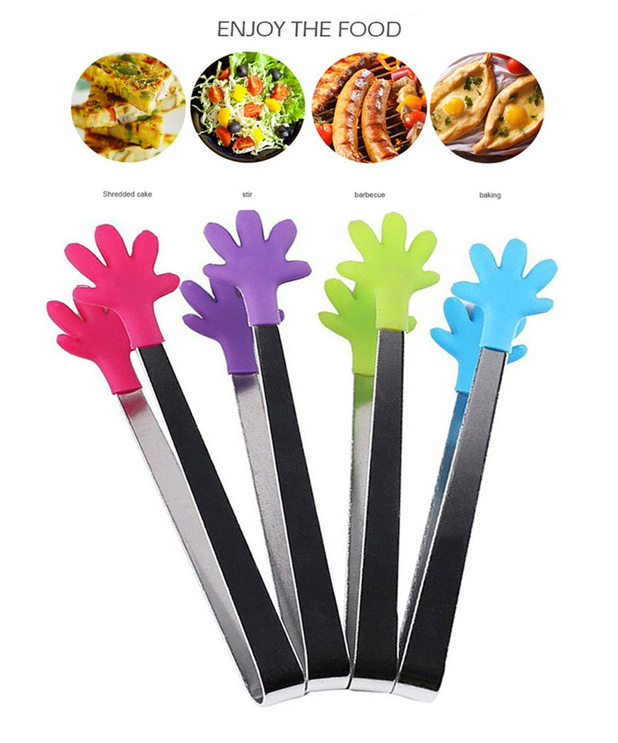 Hillento 4 PCS Mini Tongs /Ice Tongs with Perfectly Designed Silicone Hand Shape Tongs Best Kitchen Gadgets, for Muffins, Pancakes, Cookies, Chocolate