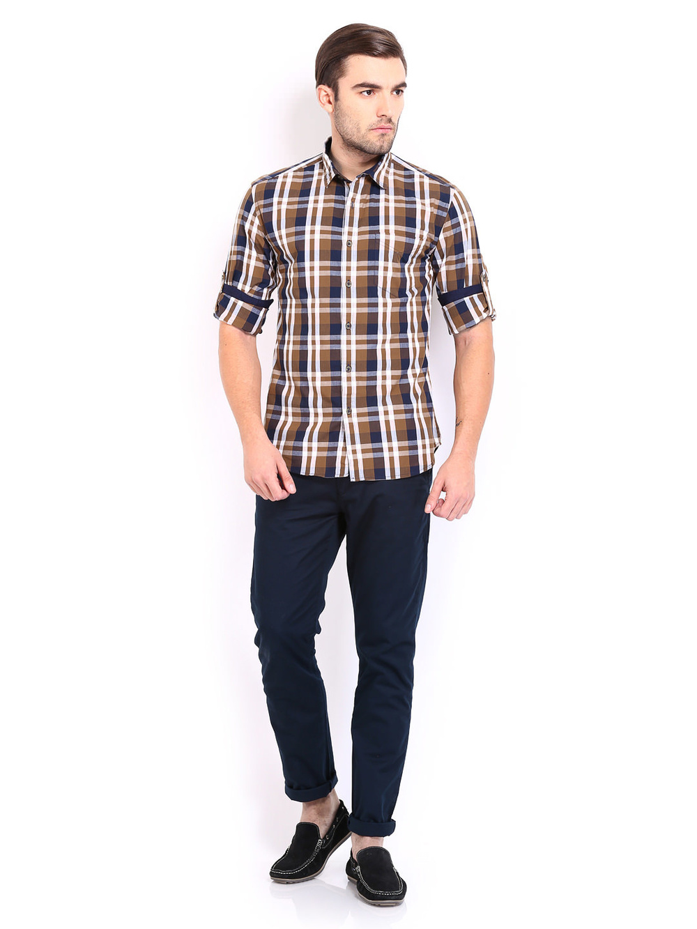 men brown amp navy checked slim fit casual fashionable