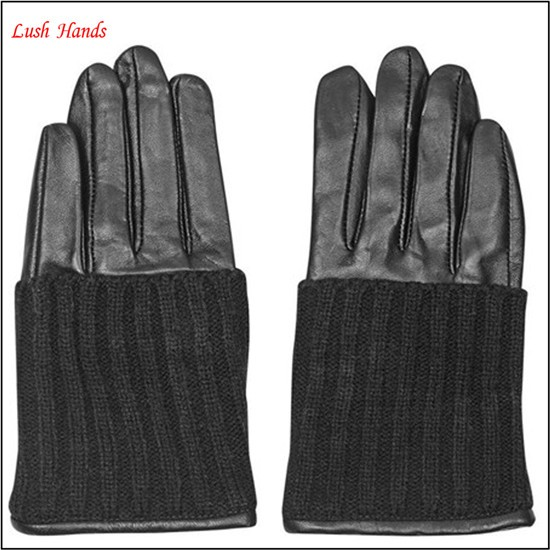Fashion lady leather customized knit cuff gloves