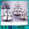 Flower shaped double three layers rustliess metal silver health wire fruit basket