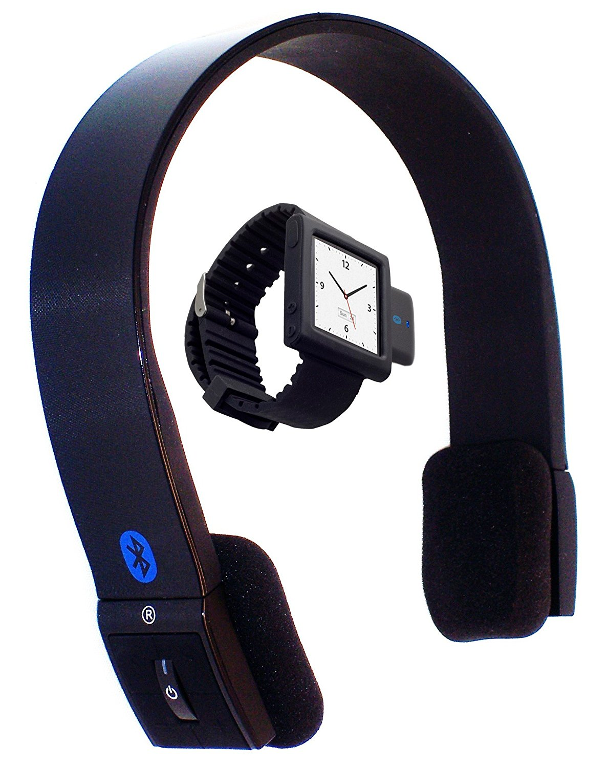 i10sWatchS10: The Ultimate Watch + Stereo Headset . i10s Luxurious Black Tiny Bluetooth iPod Transmitter, + iWatch Black iPod Nano 6G wrist band, + S10 EDR Bluetooth Stereo Headset (iPod Nano Not included).