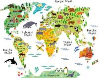 Kids Educational Animal Landmarks World Map Wall Decals Wall Stickers Kids Bedroom Living Room Home Decor Removable