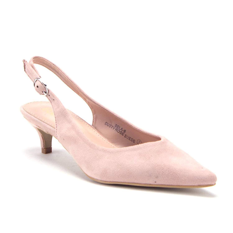 70eeb0415aec Get Quotations · J aime Aldo Women s Pointy Toe Slingback Low Kitten Heels  Pumps Shoes