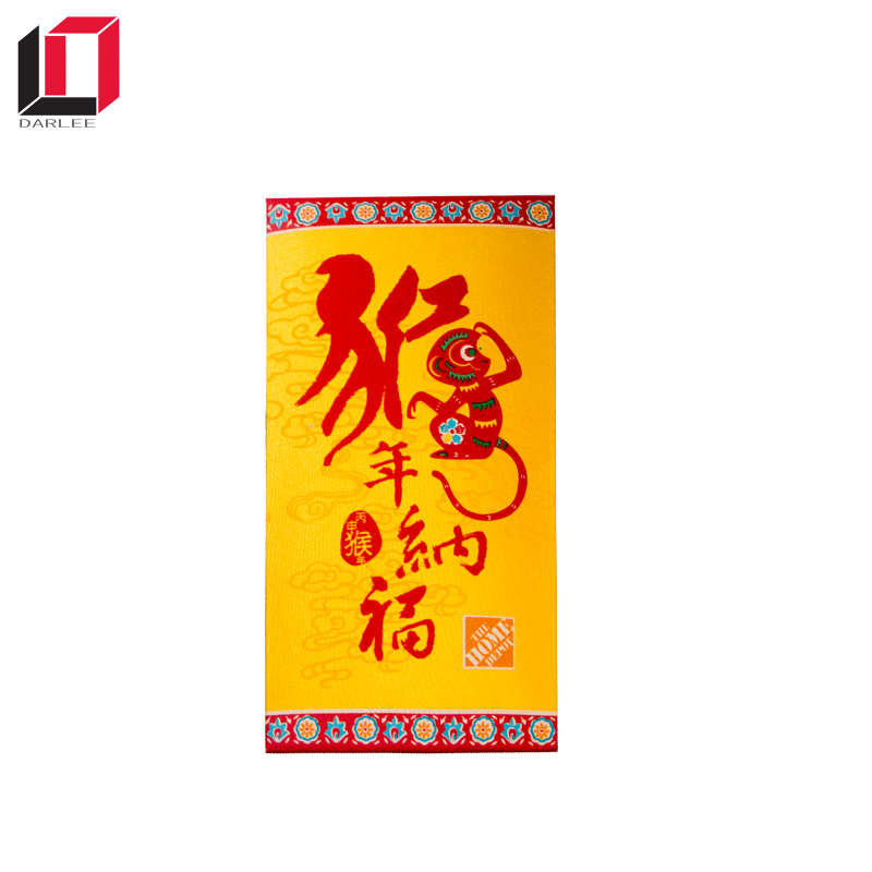 2018 Chinese new year manufacture unique embossed custom luck silk fabric cloth red envelope