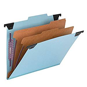 Smead FasTab Hanging Pressboard Classification Folder with SafeSHIELD Fastener, 2 Dividers, 2/5-Cut Built-in Tab, Letter Size, Blue, 10 per Box (65115)