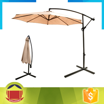 Beige Color Post Side Cantilever Patio Umbrella With Crank Handle