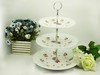 Porcelain 3 layered cake fruit plate,cake plate stand set