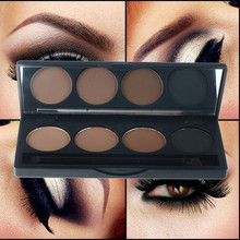 2015 Hot sale professional eyeshadow eye brow makeup waterproof 4 color eyebrow powder + double end brush make up palette set