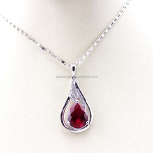 Women Silver Jewelry Created Ruby Drop Shape Pendant Necklace
