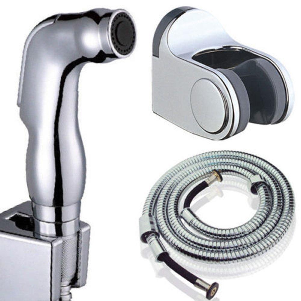E Support Hand-held Toilet ABS Spray Nozzle Sprinkler Shower Heads Bidet Set for Bath Silver